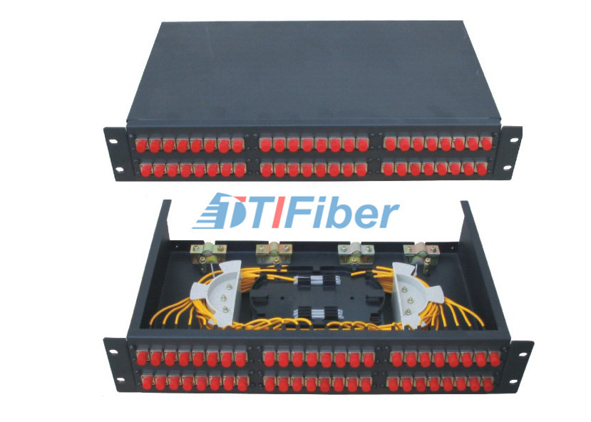 2u 48 Port Patch Panel With FC SC ST Fiber Connectors , Fiber