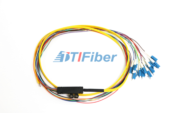 LC  Single Mode Pigtail Optical Fiber With 12 Core Ribbon Fiber Cable