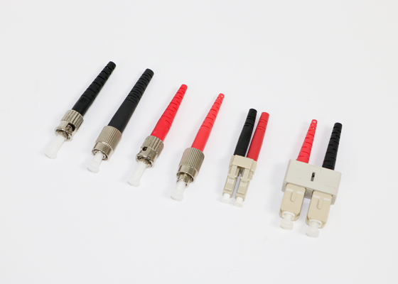Black And Red Boot MM Multimode Fiber Connectors With Duplex Clip