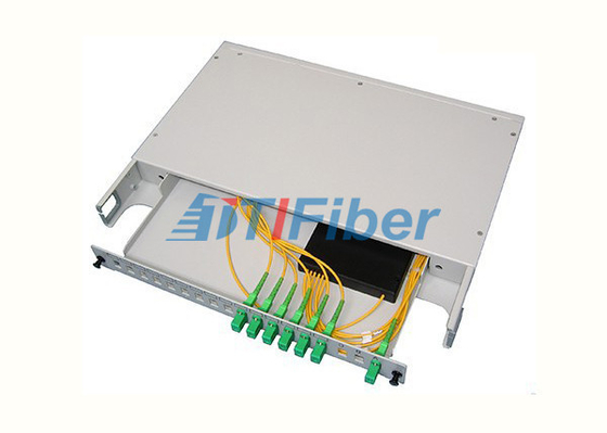 19 Inch Rack Mounted Fibre Optic Splitter Box With SC / APC PLC Fiber Splitter