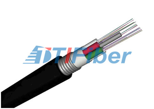 GYTA  OM1 / OM2 Aerial Fiber Optic Wire Black Jacket With Corrugated Steel