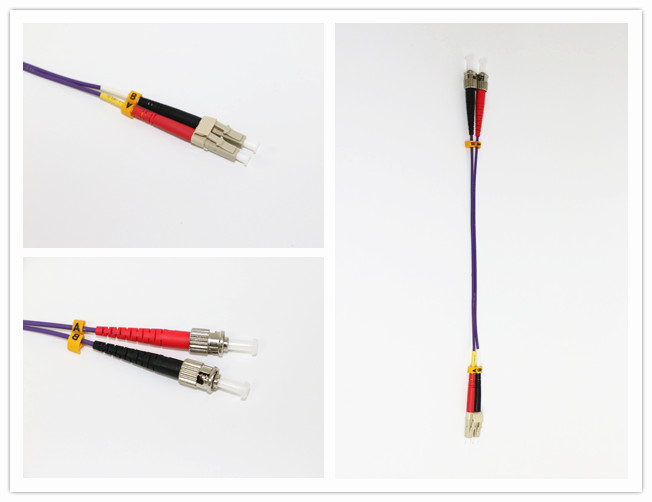 SC - LC Fiber Optic Jumper Cables Violet / Purple OM3 50/125 Cable