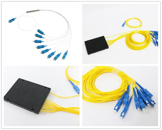 1*8 Fiber Optic Plc Splitter With SM FC SC ST LC Fiber Connector