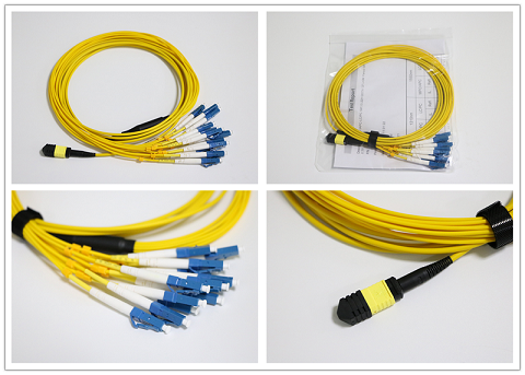 LC SM MTP / MPO Fiber Patch Leads With UPC Optical Fiber Connector